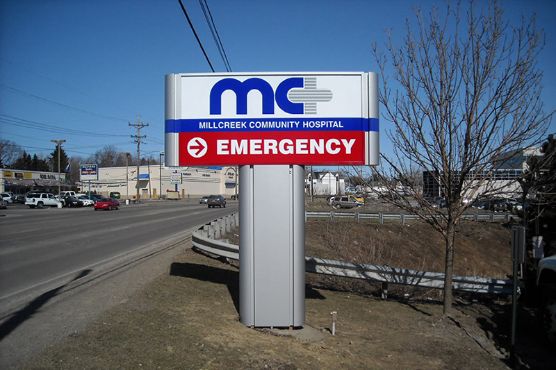 exterior hospital pylon sign
