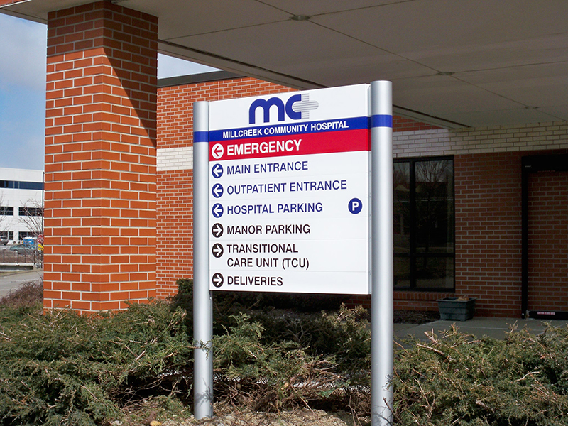 exterior directional sign for hospital