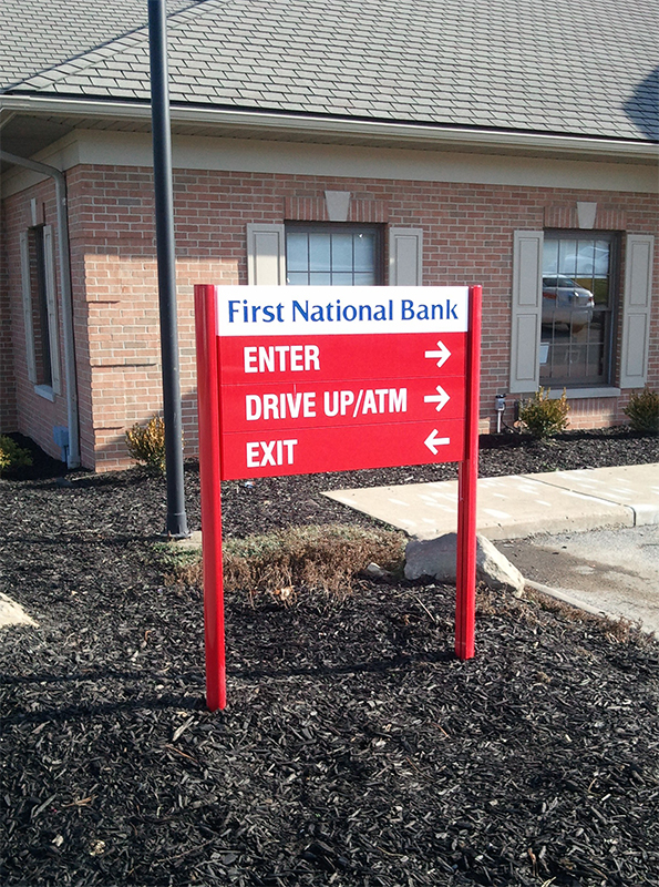 bank directional sign